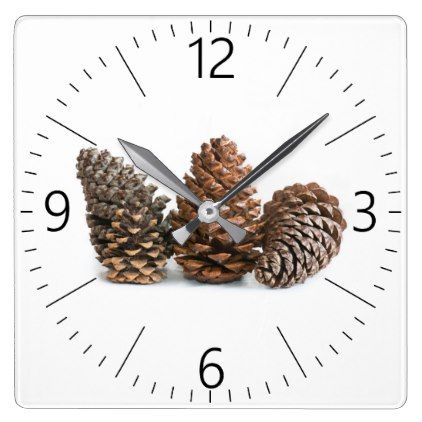 Three pinecones square wall clock - Xmas ChristmasEve Christmas Eve Christmas merry xmas family kids gifts holidays Santa