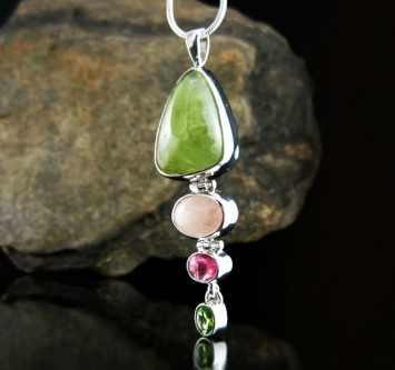 Grossular Garnet (Africa), Pink Morganite (Africa) and Tourmaline Sterling Silver Pendant
