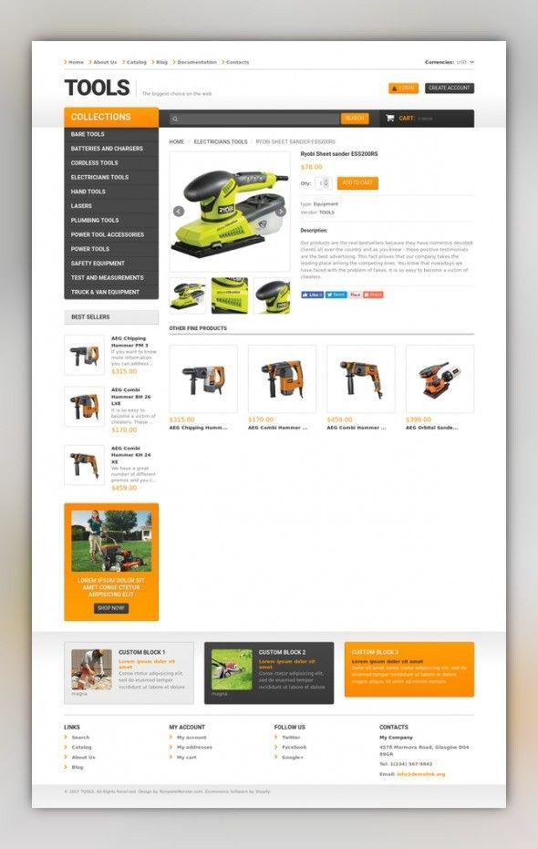Tools & Equipment Responsive Shopify Theme E-commerce Templates, Shopify  Themes, Home &