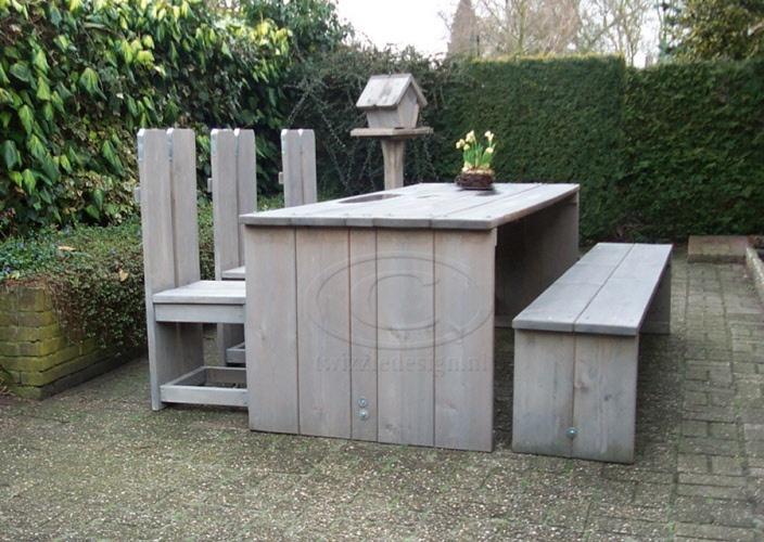 Steigerhout tafel met bank en drie stoelen steigerhout tuin pinterest met - Bank voor pergola ...