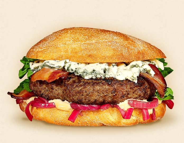 The Big Ben:  Wisconsin Blue Cheese Cheeseburger Recipe.  Other ingredients: watercress, pickled red onions, toasted ciabatta roll, beef patty, bacon, and balsamic mayonnaise.   - Wisconsin Milk Marketing Board