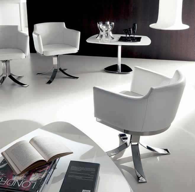 ARENA, design: Studio Ozeta - Metal frame, swivel couch-armchair with soft leather covering.www.ozzio.com