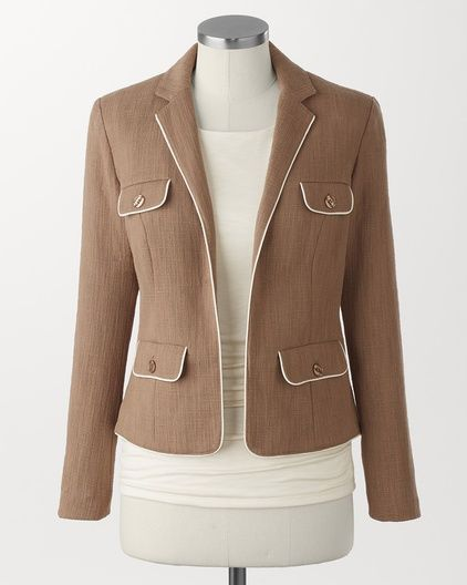 Piped cotton jacket