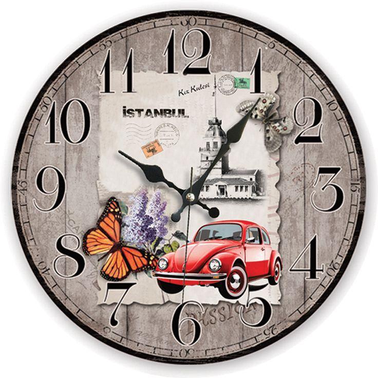 İstanbul Antik Ahşap Duvar Saati  Ürün Bilgisi;  MDF gövde Sessiz akar saniye Çap 35 cm. Çok şık ve dekoratif ahşap duvar saati Ürün resimde olduğu gibidir