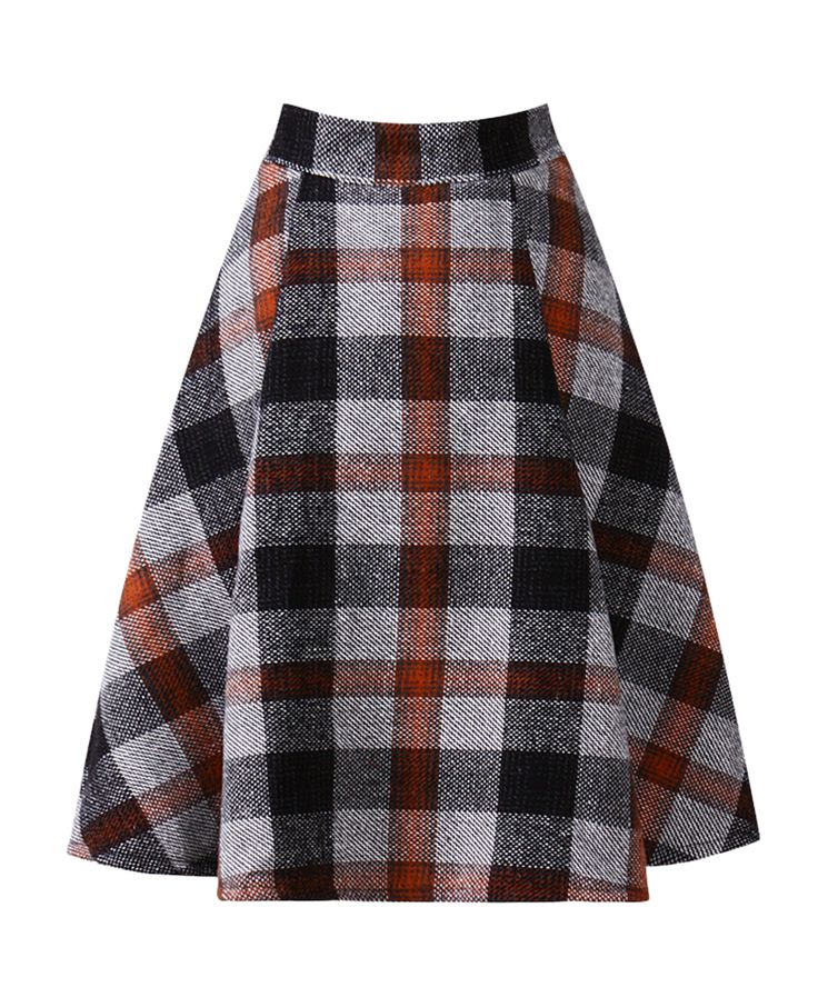 2015 Womens Plaid Print Woolen Stretch Soft Umbrella A Line Skirt