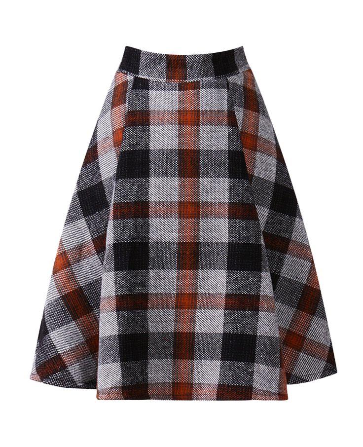 Plaid Md-long Woollen Skirt | BlackFive