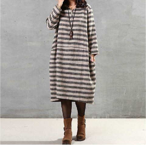 Women Cotton Linen Dress Loose Dress Long Sleeve Dress Large Size Dres – Buykud