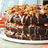 """Cafe Latte's Turtle Cake: A reader says, """"I have made this cake for years and it never fails to be a wonderful hit! So moist and the best chocolate flavor."""""""