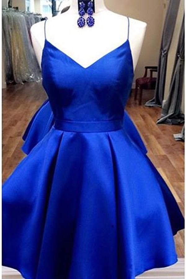 Royal Blue Straps Short Homecoming Dress with Ribbon, Short Prom Dress, SH215