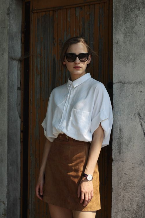 White shirt and brown skirt