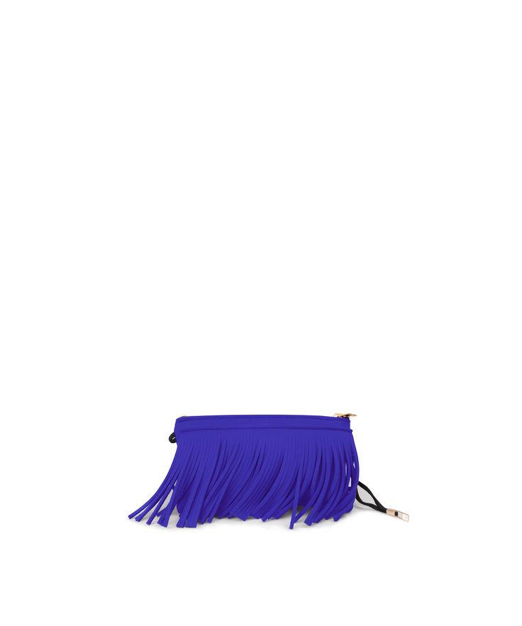 Stand out from the crowd with this fringed clutch. Tough-luxe style with attitude now comes in a range of colours.  Comes with a detachable strap  Size  290 x 150 x 25 mm  160g  Made in Italy  Vegan Friendly  Made from Poly-Lycra Fabric   Purple