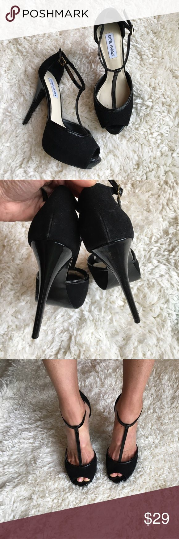 Black Suede Mary Jane Platform Peep Toe Heels Sexy Black Suede Mary Jane Platform Peep Toe Heels. These heels are in excellent like new condition! The heel measures at 5.25 inches. Steve Madden Shoes Platforms