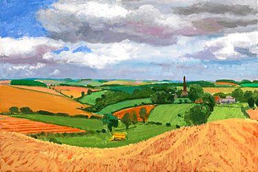 DAVID HOCKNEY : Huggates's St. Mary's Church Spire , August 2005 oil on canvas 61x91.5 cm