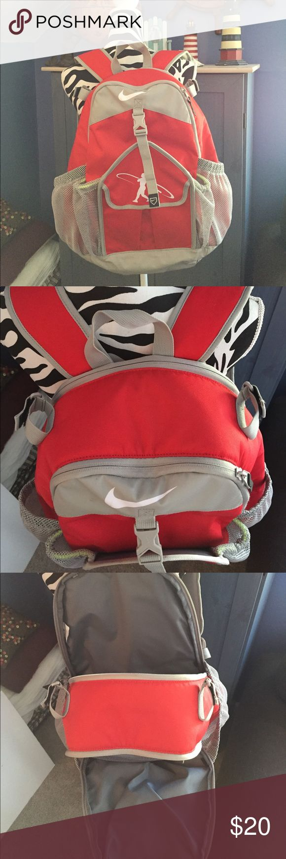 Nike Swingman Baseball Softball Bat Bag Backpack Used but in good condition - can hold two bats and plenty of additional room for all the other gear - spandex enclosure is a little loose on one side but still functional - there are also a few small stains on the bag Nike Other