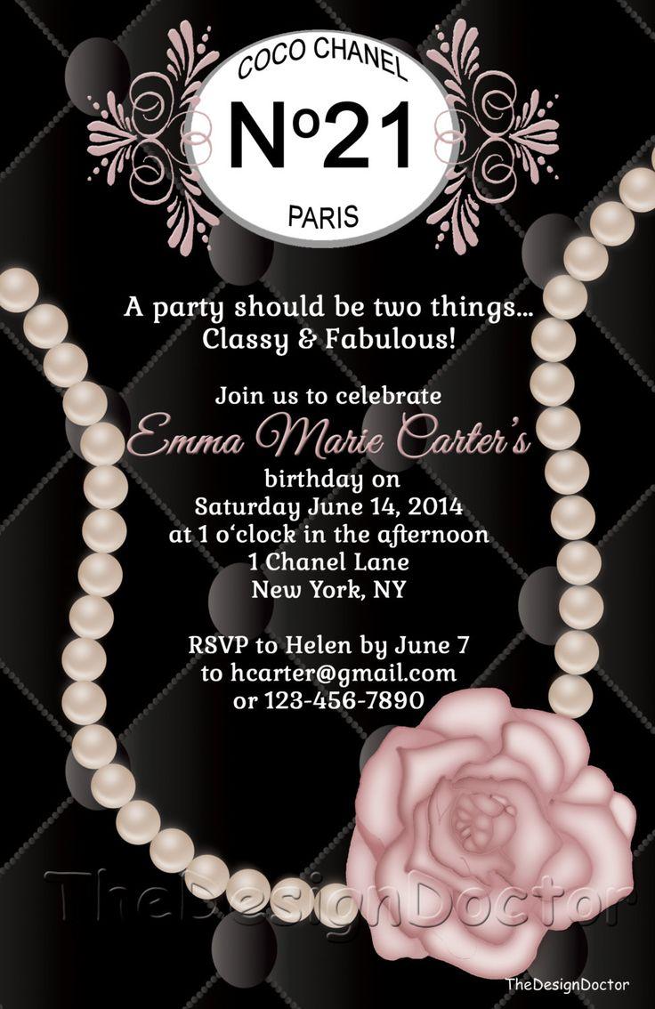 birthday party invitation templates free printable%0A Custom Hand Drawn Classy and Fabulous CoCo Chanel Inspired Birthday Party  Invitation Printable Digital File