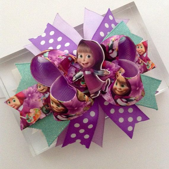 Masha and the Bear Hair Bows with Alligator Clips