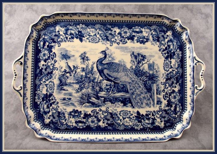 BLUE & CREAM TRANSFERWARE PEACOCK COUNTRYSIDE TOILE LARGE SERVING PLATTER TRAY