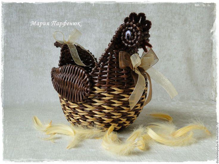 """Купить Курочка плетёная """"Конфетка"""" - коричневый, курочка, плетеная корзина, для дома и интерьера, для кухни"""