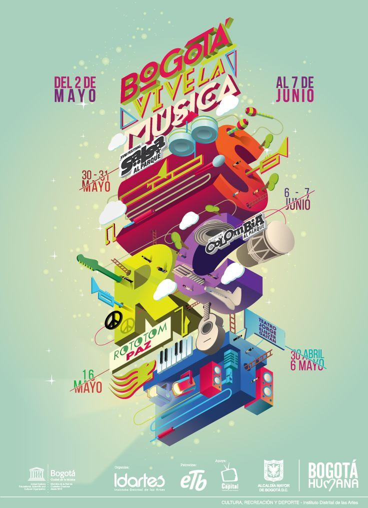 Afiche Bogotá Vive la Música. Diseño: Raúl Diaz / Daniel Roa. Bogotá, 2015.