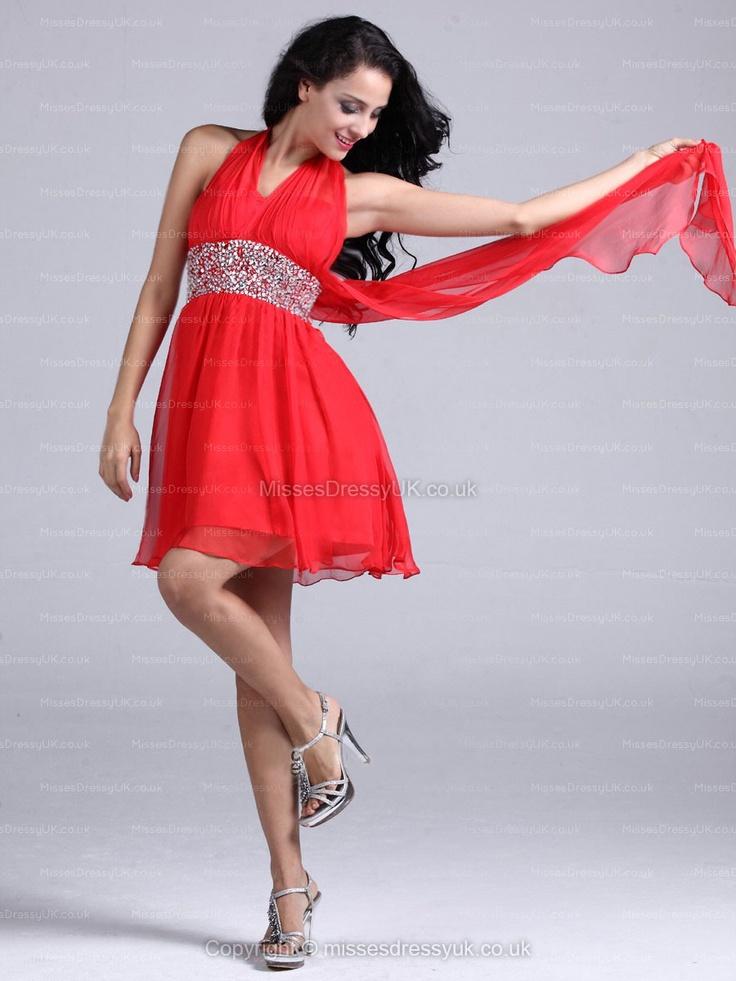 A-line Halter Chiffon Short/Mini Red Beading Homecoming Dress