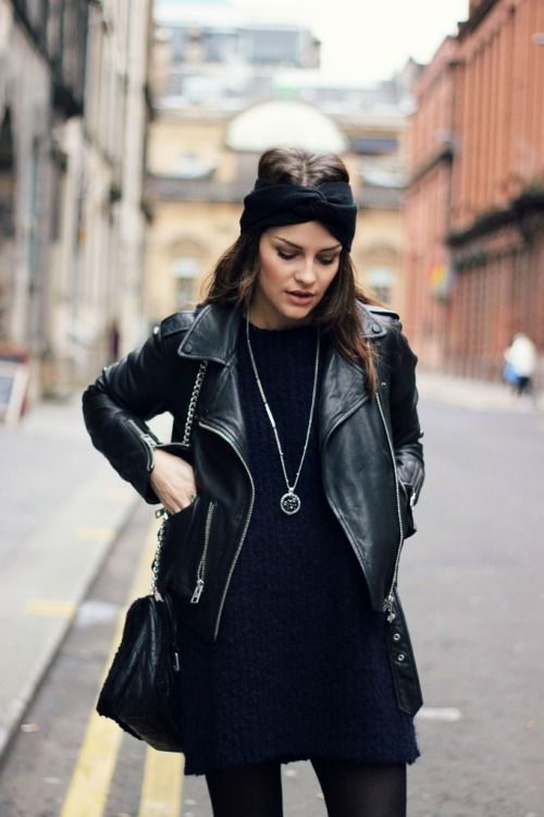 The headband is everything. Leather jacket black on black look for sophisticated rocker outfit. Look. Fashion. Women. Street style. Mix and match.