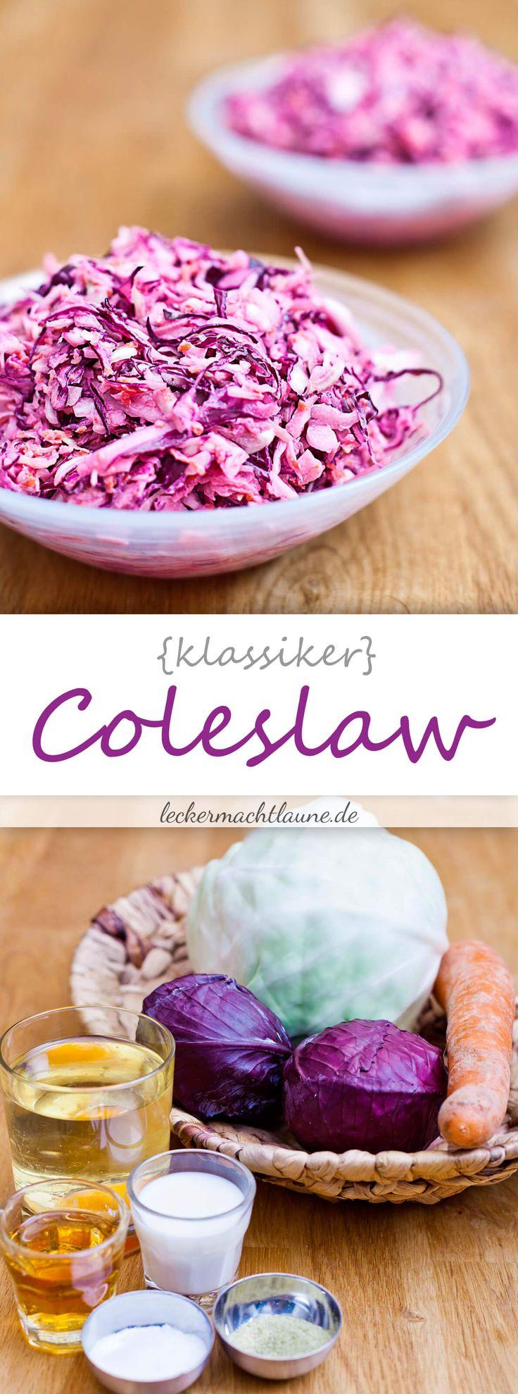 Coleslaw (oder auch: Krautsalat) ist eine tolle Beilage nicht nur zum Grillen, sondern auch so. Und das zu jeder Jahreszeit, finde ich :D