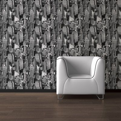 This new york black and white wallpaper from muriva is an for Black and white new york mural wallpaper