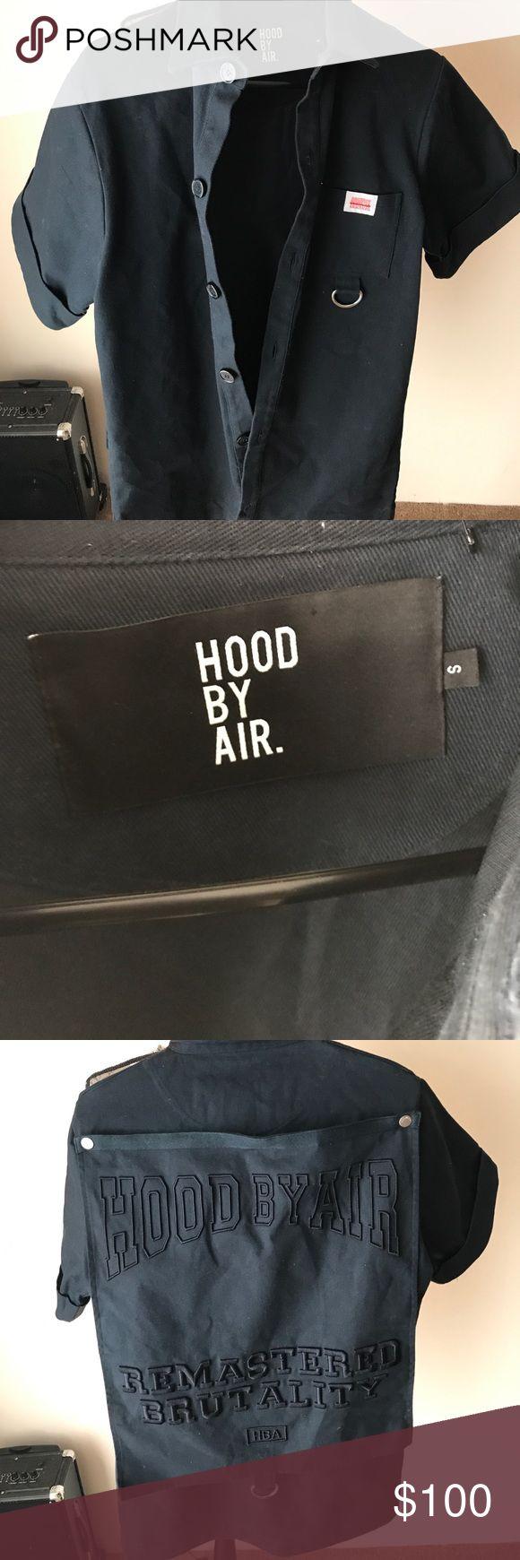Hba short sleeve denim shirt HBA HOODBYAIR Small Navy Blue Hood by Air Shirts Casual Button Down Shirts