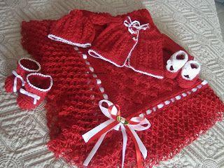 (¯`·¸·´¯) Dalva artes em trico e croche (¯`·¸·´¯): CONJUNTO SAÍDA DE MATERNIDADE, VERMELHO, EM TRICO