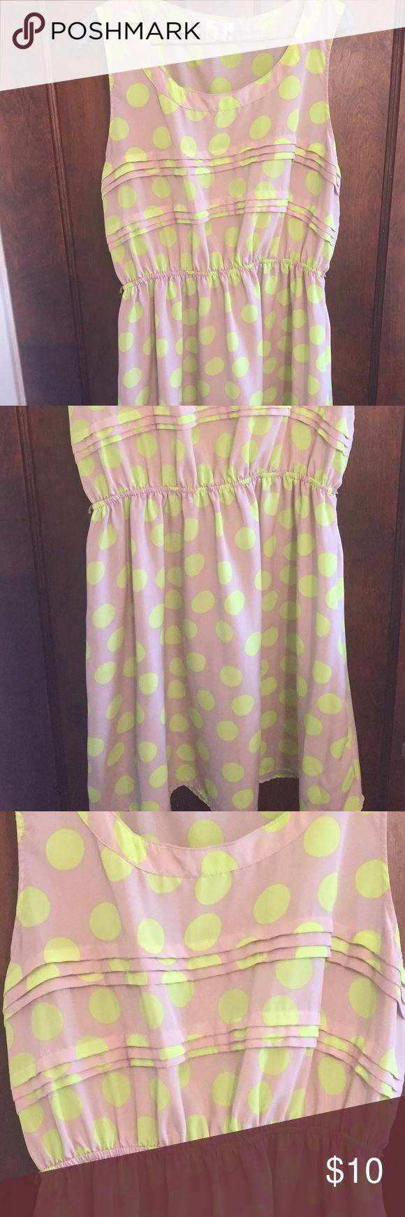 Fun taupe and neon yellow dress Taupe dress with  neon yellow dress polka dots. Neon yellow thin belt included target Dresses Midi