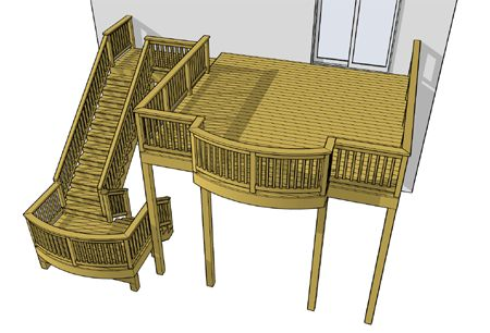 10 foot high deck for those upper level homes at 383 sf.  Dont buy any deck plans when we offer them for free.  Download this deck plan by clicking the deck image.