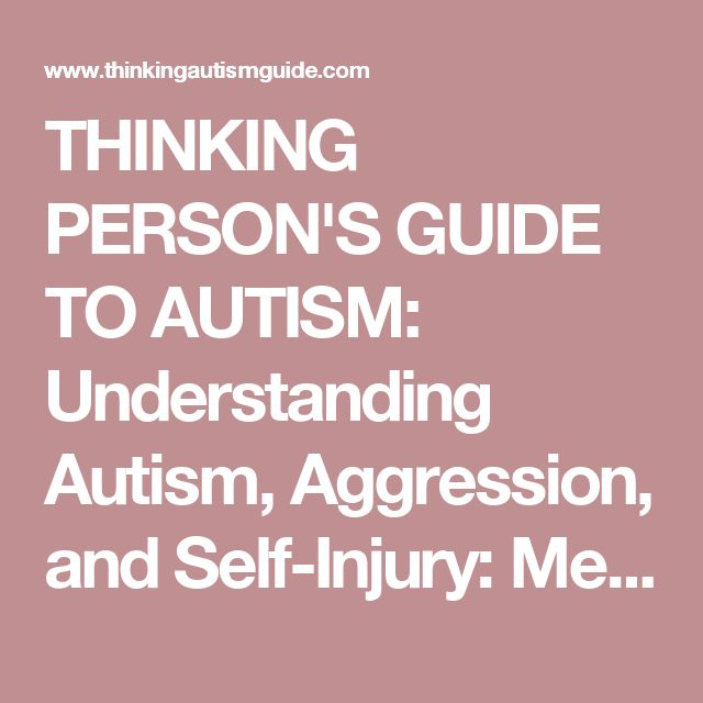 THINKING PERSON'S GUIDE TO AUTISM: Understanding Autism, Aggression, and Self-Injury: Medical Approaches and Best Support Practices