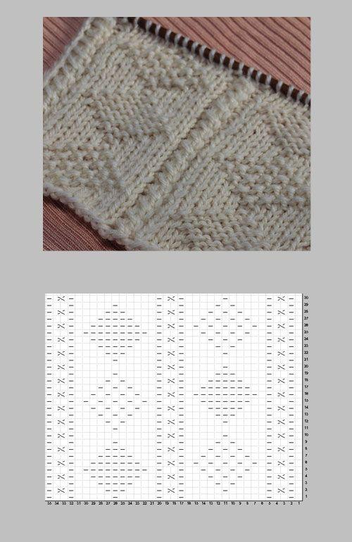 2種のダイヤ柄のガンジー模様の編み図と編み上がり作品 もっと見る