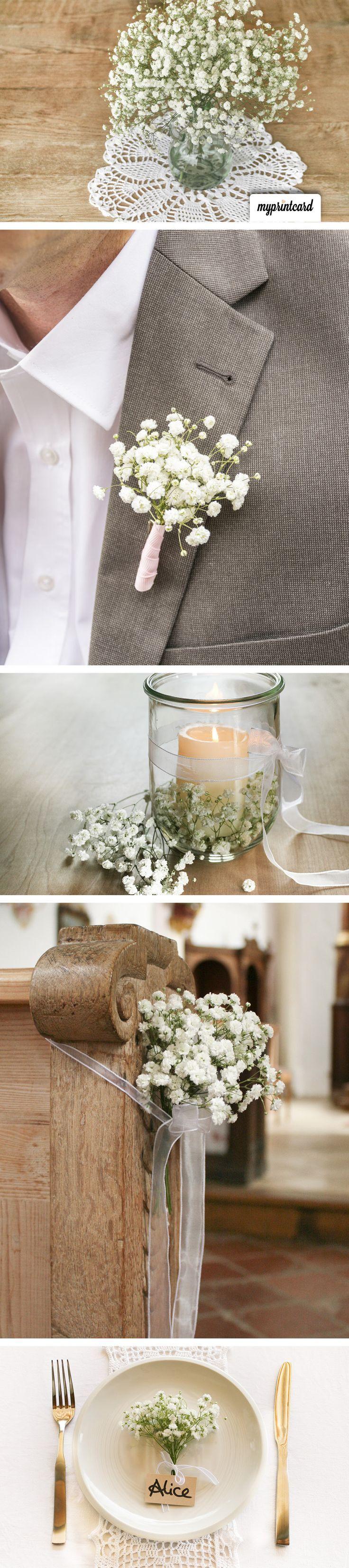super Blumendeko auf der Hochzeit mit Schleierkraut