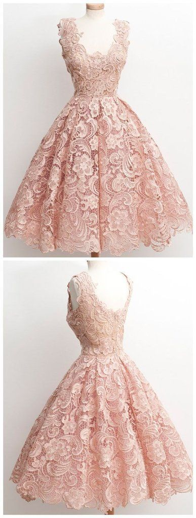 Vintage A-line Scalloped-Edge Knee-Length Lace Light Pink Prom Homecoming Dress