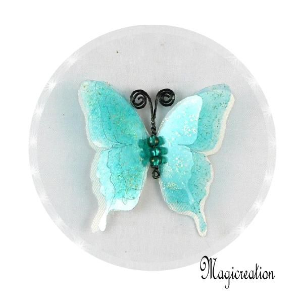 BRELOQUE PAPILLON 3D TURQUOISE - Boutique www.magicreation.fr