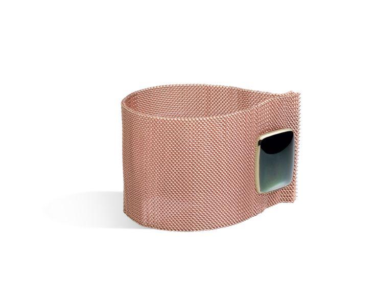 Bracciale oro rosa 9k e polsino ossidiana rainbow queriot bracelet green rose gold jewellery gioiello fashion luxury