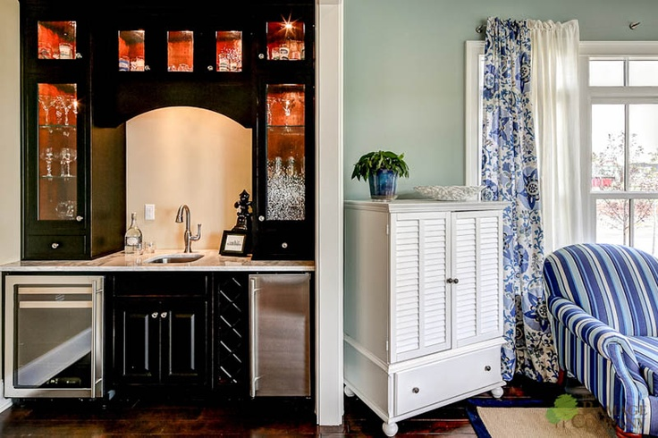 Built in bar off kitchen designed and built by the