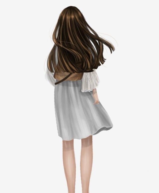 Saia Branca Menina Menina Vista Traseira Menina Pe No Vento Menina De Cabelos Compridos Menina Pura Qingchun Falta Irma De Volta Imagem Png E Psd Para Downlo Long Hair Styles Girl