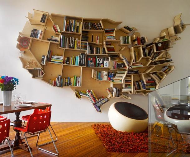 US-shaped bookshelf in architect's Andrei Saltykov house, London