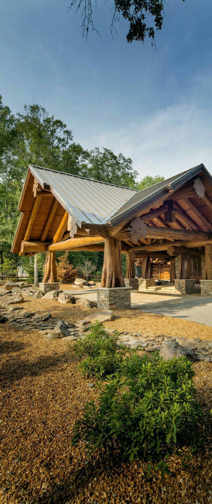 Hardwood Log Cabins ~ Best portico driveway images on pinterest log houses