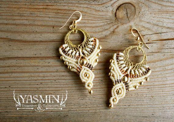 Orecchini macrame, orecchini, orecchini da sposa, fatti a mano da favola elfo orecchini crema e oro, grandi orecchini tribali