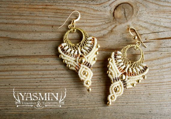 handmade fairytale elf earrings cream and gold, large tribal dangle earrings