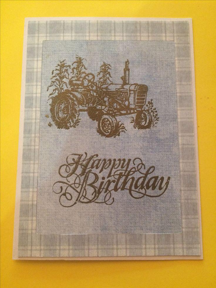 Happy Birthday - Gold Embossed Tractor