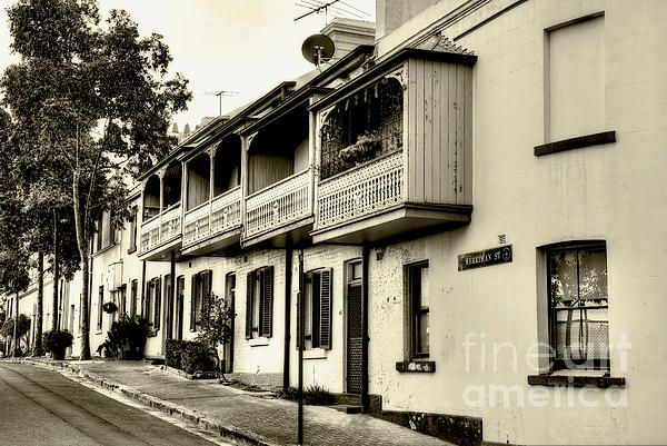 #Street photography in sepia of some old #terraced #houses in The #Rocks area of #Sydney city. #Old #Sydney in #Sepia by #Kaye_Menner #Photography Quality Prints Cards Products with a Money Back guarantee at: https://kaye-menner.pixels.com/featured/old-sydney-in-sepia-by-kaye-menner-kaye-menner.html