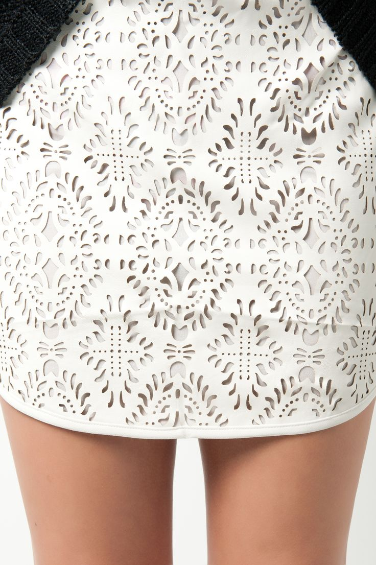 Laser Cut Leather Dress - ornate surface pattern & white textures; laser cut fashion details