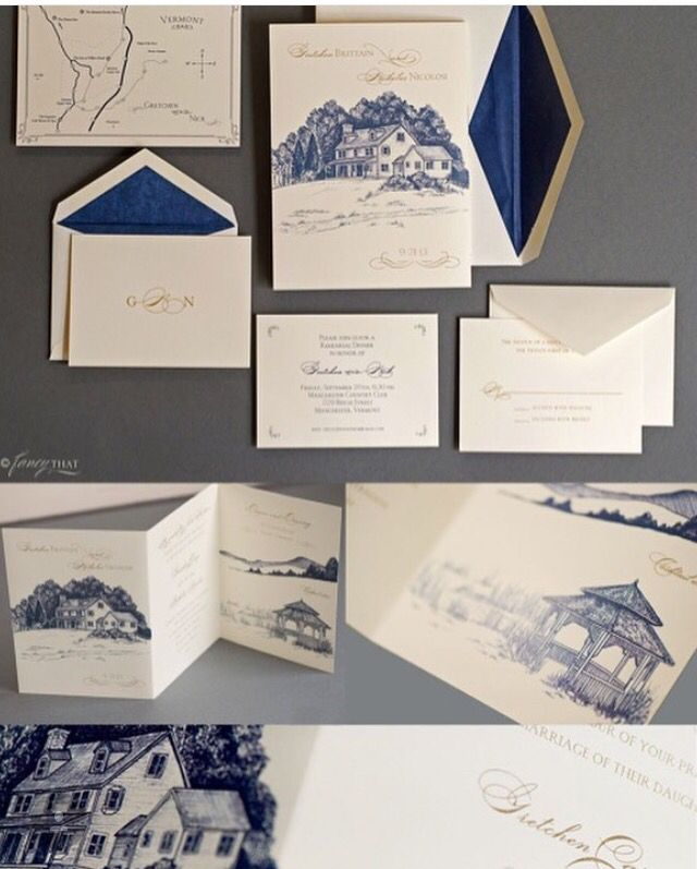 navy blue and kelly green wedding invitations%0A Blue and white travel invitation suite by Fancy That NYC