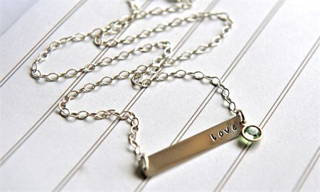 Love Necklace Nina Proudman Style Bar Necklace Hand Stamped Jewellery Birthstone