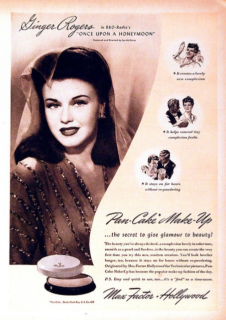 Ginger Rogers for Max Factor Pan-Cake Makeup, 1946
