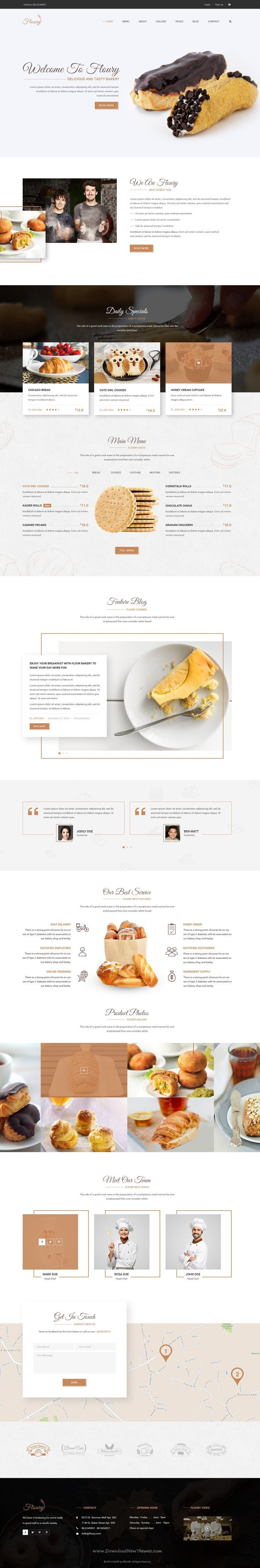 Floury is clean & modern #PSD template for #bakery, #food, beverage, cuisine…  Chose WebsitesYES.com for your design needs.